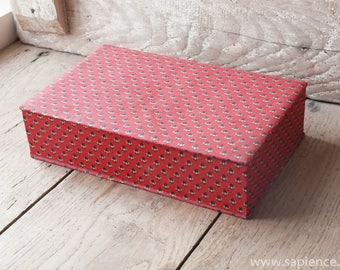 French red fabric covered vintage box, jewelry box