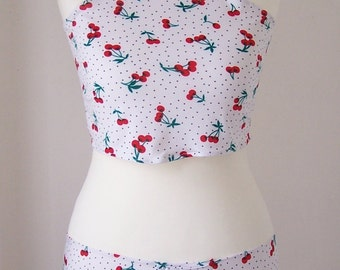 Bathing Suit Coverups with print of cherries and pois - Crop Top and Mini Skirt - For Girls - For Summer - Handmade ;)