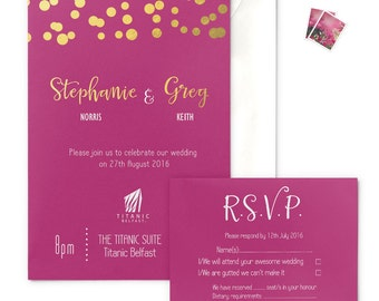 Hot Pink and Gold Glitter Lights Wedding Invitation with envelope, gold-foiled, RSVP card optional