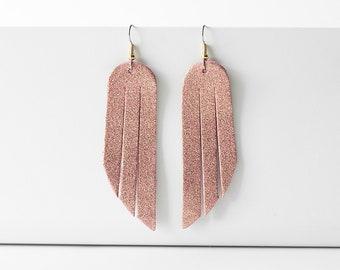 Leather Earrings / Fringe / Fruit Punch