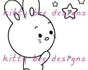 Super Star Bunny Digi Stamp