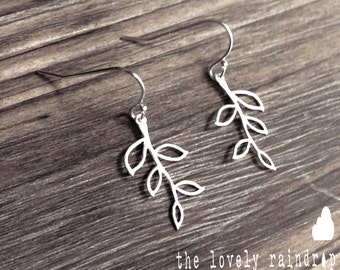 SALE - Tiny Branch Earrings on Sterling Silver Ear Hooks - Dangle Earrings - Make Perfect Gift - The Lovely Raindrop