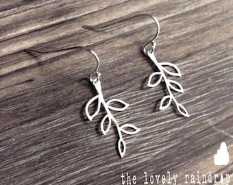 Tiny Branch Earrings on Sterling Silver Ear Hooks - Dangle Earrings - Make Perfect Gift - The Lovely Raindrop