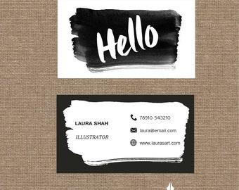 Printable stylish elegant water colour monochrome business card, calling card for your business