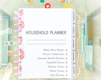 HOUSEHOLD Planner Starter Kit House Daily Routine  Home Management Cleaning Checklist and Menu Planner Letter Size. Instant download