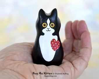 Handmade Kitty Cat Figurine, Miniature Sculpture, Black White Tuxedo, Red, Blue Hug Me Kitten, Animal Totem Charm Figure, Personalized Tag