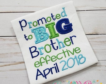 Promoted to Big Brother Shirt, Sibling Shirt, New Baby, Big Sister Shirt