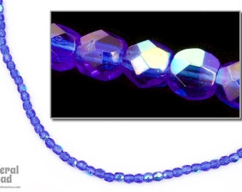 3mm Transparent Sapphire AB Fire Polished Bead (50 Pcs)  #FPX180