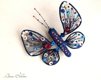 3D Embroidery Butterfly brooch