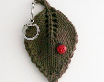 Keychain Hand Knit Lucky Ladybug on a Leaf Warm Brown Cotton Fabric