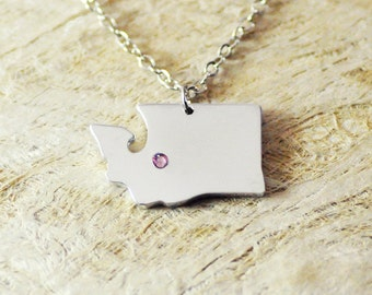 Washington  Necklace birthstone alloy 925 sterling silver  heart necklace Pendant State Necklace State Charm Map necklace Map Jewelry