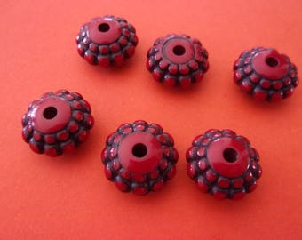 """Red acrylic bead in the shape of """"pillow"""" - 1.5 cm"""