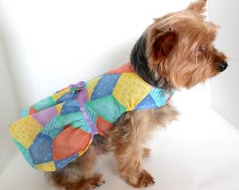 Spring Summer Dog Dress, XS S M L, Patchwork print lightweight Dresses for dogs, Designer Fashion Dog Clothes
