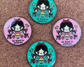 Snow White Kind to Animals Enamel Pin - Your Color Choice