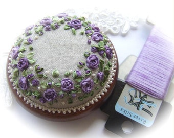 PP13 Roses and Pearls Purple Pincushion Pattern and Print kit