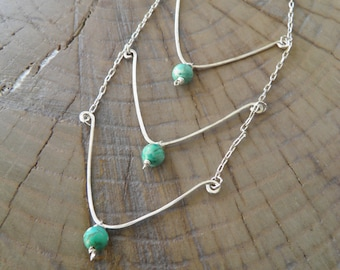 """Necklace... """"Moon Light"""" turquoise sterling silver necklace"""