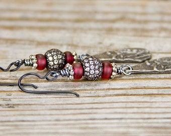 Pave heart earring, Indie earring, Rustic bohemian earring, long dangle earring, boho chic, rustic pewter, pave diamond, red heart, eclectic