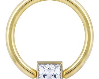 Princess CZ Side Mount Bezel 14K Yellow Gold Captive Bead Ring