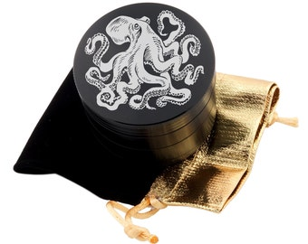 "Octopus Laser Etched Design 2.5"" Large Size Herb Grinder Item # ETCH-G013017-112"