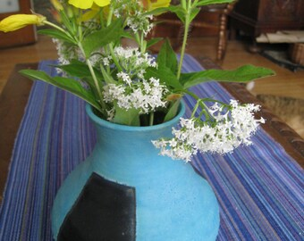 Turquoise Blue Vase with Black Geometric Design, Blue Ceramic Vase