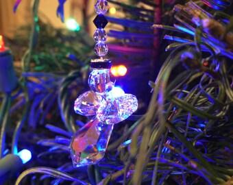 Thin Blue Line Angel. Swarovski Crystal handmade angel ornament.