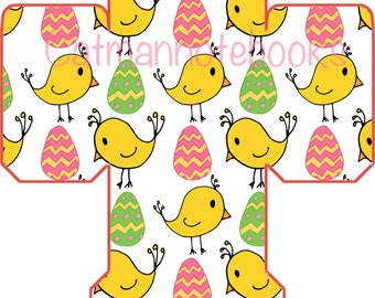 Cute easter eggs and chicks favor box template