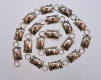 Vintage  Native American Concho Belt Silver and Coral