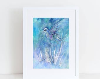 MOUNTED PRINT 8 x 10 Dance Among The Flowers Hummingbird decor bird art