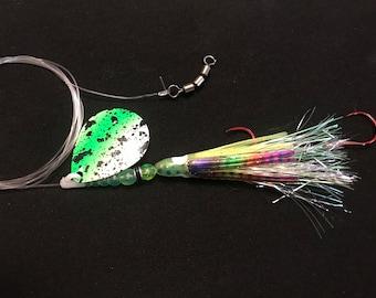 Green spatterback salmon prawn spinner. Salmon, Steelhead, Trout and Kokanee lure.