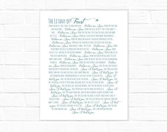 Litany of Trust {digital download} 8x10, two versions on blue and white
