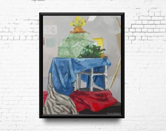 Original Still life Oil Painting, Colour Weight Study, Fabric, Table and Plants, Oil Painting on Canvas, Ready to Ship