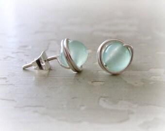 Sea Green Studs, Stud Earrings Stone, Sterling Stud Earrings, Light Green Studs, Gemstone Studs, Light Green Earrings, Silver Post Earrings