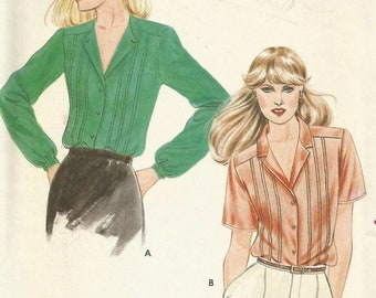 Vintage 70s Butterick 3328 UNCUT Misses Blouse with Front Tucks Sewing Pattern Size 12 Bust 34