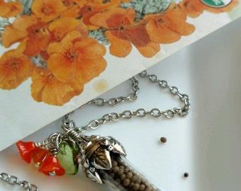 California Poppy Seeds Pendant Necklace