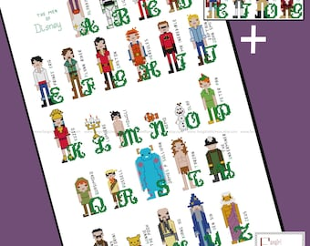 Disney inspired Male Character Alphabet Cross Stitch - PDF Pattern - INSTANT DOWNLOAD