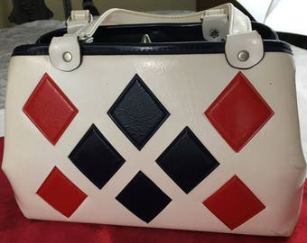 Vintage White Patent Leather Structured Purse Hand Bag Black and Red Diamonds