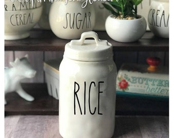 DECAL ONLY~Rae Dunn Inspired Canister Vinyl Decal~Kitchen Decor~Farmhouse Decor~Cookies~Tools~Oatmeal~Pasta~Rice~Rae Dunn Canister Decal