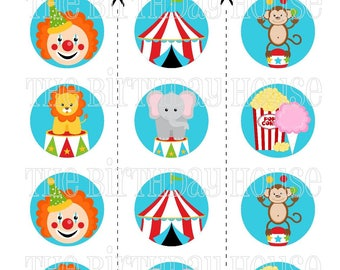 INSTANT DOWNLOAD - PRINTABLE Big Top Circus Party Rounds - Assorted Carnival Cupcake Toppers by The Birthday House