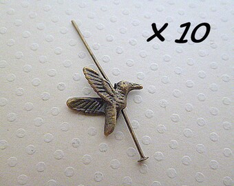 Set of 10 charms bird bronze 15 mm x 14 mm - BB-0999