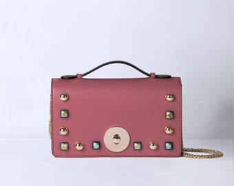 pink leather bag, small studs bag, pink real leather pochette,made in italy, woman leather bag, bag, leather small bag,pochette