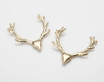 Deer Bambi Brass Pendant Matte Gold-Plated - 2 Pieces [AA0092-MG] Favorite
