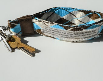Blue and Brown Argyle Key chain with Bible Verse, Bible Verse Wrist Key Fob, Fabric Scripture Keychain, Blue and Brown Scripture Keyfob