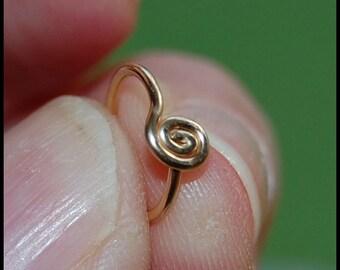 14 Karat Yellow Gold Filled Medium Spiral Catchless / Seamless Nose Ring - CUSTOMIZE