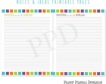 Notes and Ideas Printable Planner Pages - 8.5 x 11 Letter Size PDF Pages - Digital Organizer Pages-Instant Download Notes Pages-DIY Planner