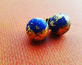 Blue Polymer Clay stup Earrings