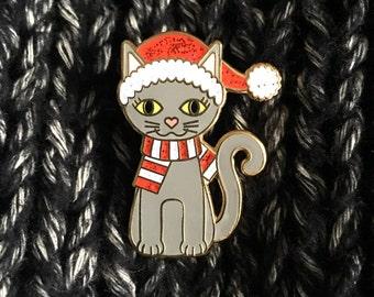Christmas Cat Enamel Pin - Christmas enamel pin - Limited Edition - cute kawaii pin - Santa hat pin