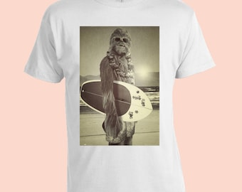 Chewbacca Surfing. Star Wars. Funny Mens T-Shirt. White 100% Cotton