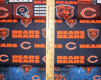 NFL Logo Chicago Bears Navy & Orange Cotton Fabric by Fabric Traditions! [Choose Your Cut Size]