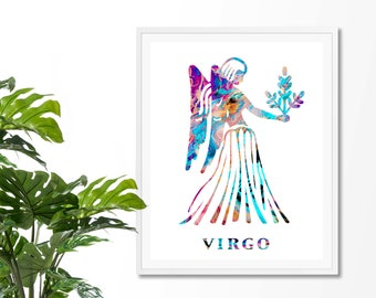 Virgo #1 Watercolor  Astrology Art, Print, Virgo  Sign , Virgo Zodiac, Virgo Wall Art,  Virgo Poster, Gift for  Virgo