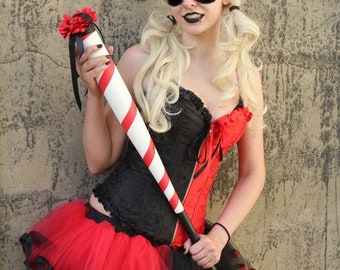 SALE Ready to ship - Harley quinn adult tutu mini black red skirt trimmed halloween costume dance gothic derby run - Medium - Sisters of the
